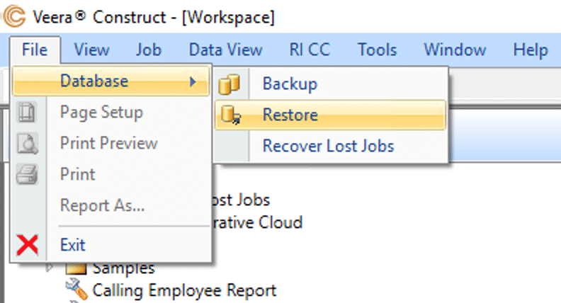 Restoring a backup in Construct